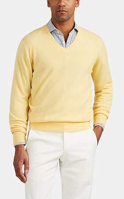 P. Johnson Men's Merino Wool-Cashmere V-Neck Sweater - Yellow