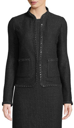 St. John Adina Knit Blazer Jacket with Chain Braid Trim