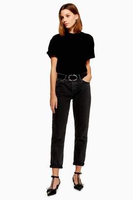 Topshop Womens Washed Black Hayden Boyfriend Jeans - Washed Black