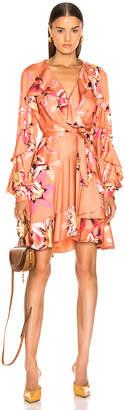 PatBO Floral Carmen Mini Wrap Dress in Nude | FWRD