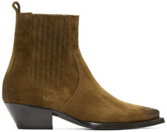 Saint Laurent Brown Suede Lukas Chelsea Boots
