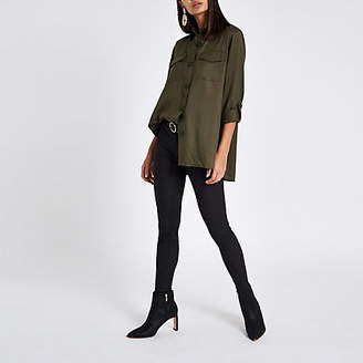 River Island Khaki button front shacket