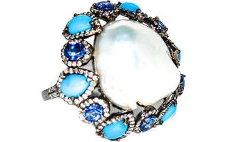 Arthur Marder Fine Jewelry Silver 3.68 Ct. Tw. Diamond, Tanzanite, & 20Mm Pearl Ring