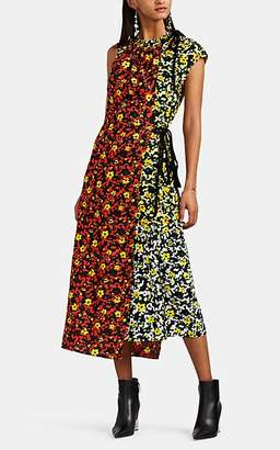 Proenza Schouler Women's Layered Floral Crepe Asymmetric Dress - Red Multi