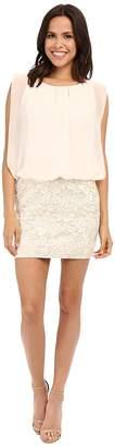 Aidan Mattox Sleeveless Brocade Cocktail Dress with Solid Chiffon Blouson Top Women's Dress
