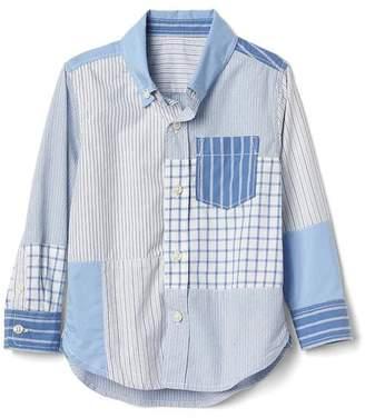 Patchwork button-down shirt $29.95 thestylecure.com