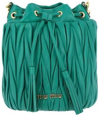 Miu Miu Crossbody Bags Small Bucket Bag In Genuine Matelassé Leather