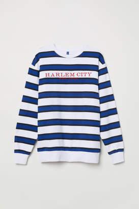 H&M Sweatshirt with Printed Motif - White