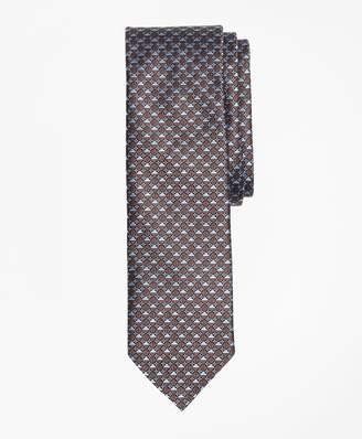Brooks Brothers Geometric Floral Pattern Mercerized Silk Tie