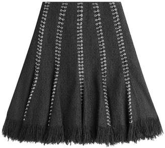 Alexander Wang Embellished Skirt with Cotton and Virgin Wool