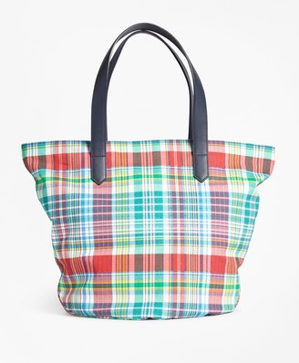 Brooks Brothers Madras-Print Canvas Tote Bag