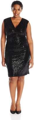Marina Women's Plus-Size Velvet Dress Surplice Front and V Back