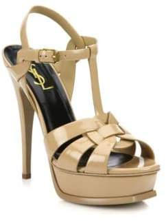 Saint Laurent Women's Tribute 105 Patent Leather Platform Sandals - Dark Nude - Size 41.5 (11.5)
