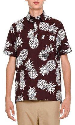 Valentino Pineapple-Print Short-Sleeve Popover Shirt, Burgundy $695 thestylecure.com