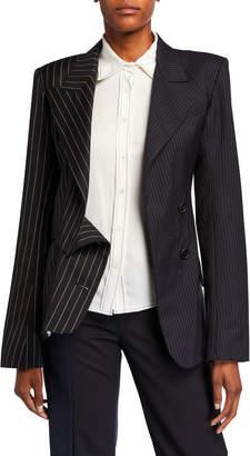 Monse Pinstriped Asymmetric Blazer