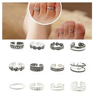 Glowsol Wholesale 12pcs Celebrity Fashion Simple Sliver Carved Flower Toe Ring Jewelry C