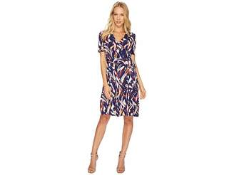 Ellen Tracy Printed Faux Wrap Dress with V-Neck and Tie at the Waist Women's Dress