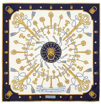 Aspinal of London Lion Key Silk Scarf In Navy