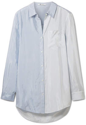 Alexander Wang Oversized Striped Satin Shirt - Blue