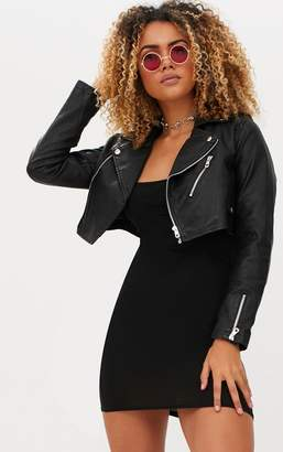 PrettyLittleThing Black Cropped PU Biker Jacket With Zips