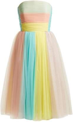 DELPOZO Multicoloured-striped tulle dress