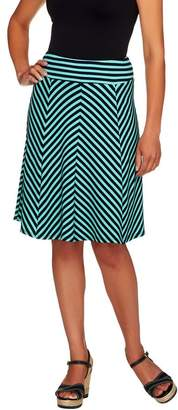 George Simonton Petite Crepe Knit Striped Skirt w/ Panels