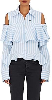 Off-White Women's Striped Cotton Cold-Shoulder Blouse