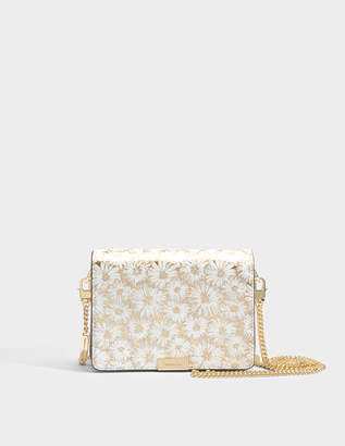MICHAEL Michael Kors Jade Medium Gusset Clutch in Optic Gold Metallic Flower Embroidered Leather