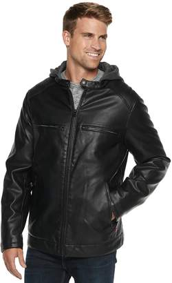 Levi's Levis Big & Tall Faux-Leather Hooded Racer Jacket