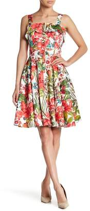 Gabby Skye Floral Printed Ruffle Dress