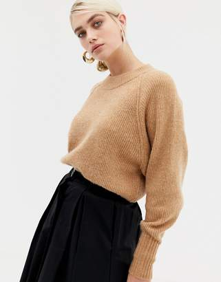 Selected deep cuff knitted jumper
