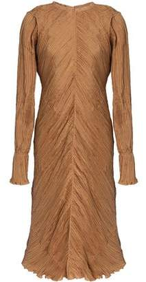 Nina Ricci Frayed Plissé Silk Dress