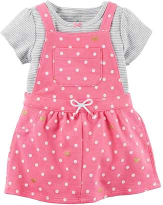 Carter's Baby Girl Polka-Dot Jumper & Striped Bodysuit Set