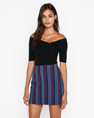 Express High Waisted Large Stripe Clean A-Line Mini Skirt