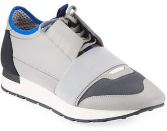 Balenciaga Men's Mixed Knit Lace-Up Sneakers, Gray/Black