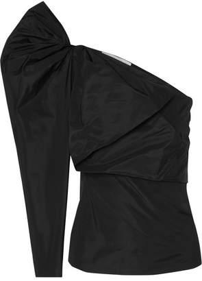 One-shoulder Taffeta Blouse - Black