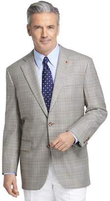 Brooks Brothers Madison Fit Saxxon Tan Plaid with Blue Rust Deco Sport Coat