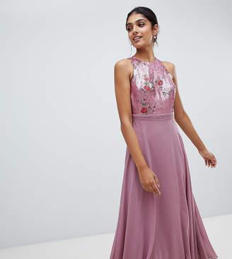 Little Mistress Tall sequin top full midi prom dress