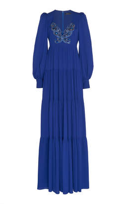 Andrew Gn Embellished Silk-Blend Crepe Gown