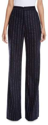 Lela Rose Maggie Wide-Leg Pinstripe Pants