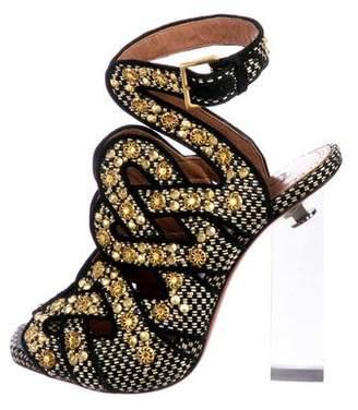 Alaia Straw Embellished Sandals
