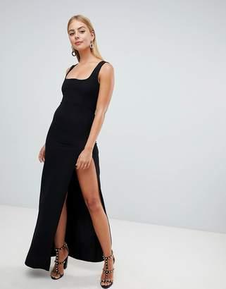 PrettyLittleThing Square Neck Split Leg Maxi Dress