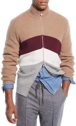 Brunello Cucinelli Men's Cashmere Chevron Colorblock Zip Cardigan