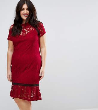 Paper Dolls Plus Cap Sleeve Lace Dress with Crochet Trim