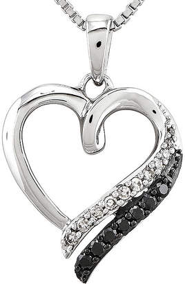 Black Diamond FINE JEWELRY 1/5 CT. T.W. White and Color-Enhanced Sterling Silver Heart Pendant Necklace