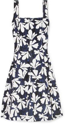 Oscar de la Renta Pleated Printed Stretch-cotton Dress