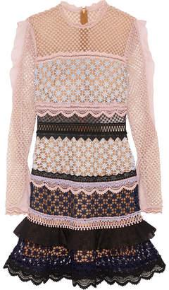 Self-Portrait - Ruffle-trimmed Guipure Lace Mini Dress - Pink $350 thestylecure.com