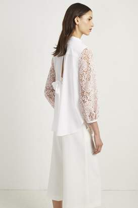 French Connection Chania Lace Puff Sleeve Shirt