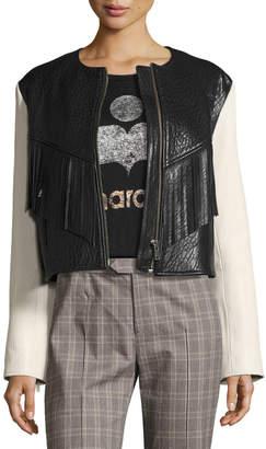 Etoile Isabel Marant Kirk Two-Tone Fringed Leather Jacket, White