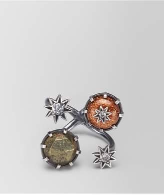 Bottega Veneta Natural Brown Antique Silver Stellular Ring